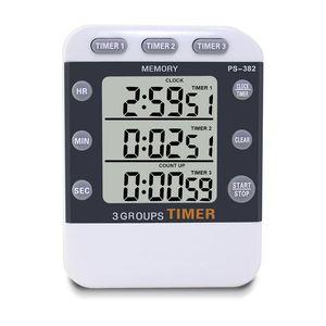 Digital Kitchen Cooking Timer Clock,3 Channels Simultaneous Timing Countdown Up Pocket Timer, Large Led Display, Loud Alarm, Mem