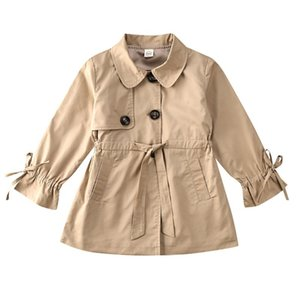 2020 Princess Spring Baby Girls Jacket Coat Cute Windbreaker Outwear With Belt Toddler Girls Button Solid Casual Trench OvercoatBPwO#