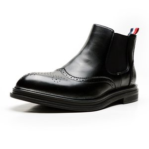 Leather Chelsea Boots Men Footwear Autumn Early Winter Boots Casual Men Ankle Boots Fashion Brand Footwear A1791