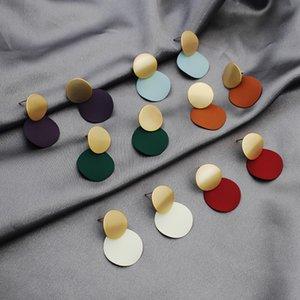 Личность контраст цвет Леди Стад INS лоскутное круг мода серьги для женщин ночной клуб партии девушка серьга