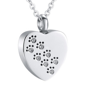 Heart Keepsake Print with Crystal in My Heart Pet Cremation Pendant Dog Urn Necklace Memorial Ashes Urn Jewelry