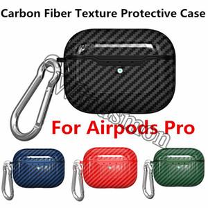 Carbon-Faser-Textur-Kasten für Apple AirPods Pro-Kopfhörer-Kasten Luxus-Abdeckung für Luft Pods Pro Airpod Fall Coque mit Haken 100pcs