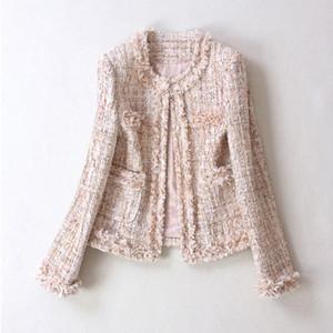 2019 осень зима твид куртка женщин Круглый шеи вскользь свободные большого размера дамы короткое пальто Y200101