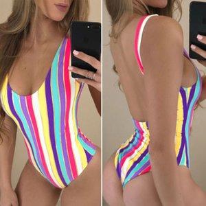 Arco-íris do verão ternos One-Piece Swimwear Mulheres Bandage Unpadded biquini listrado Bra Maiô Swimsuit