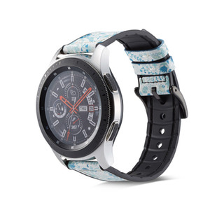 20mm 22mm Hakiki Deri Silikon Watchband Samsung Galaxy İzle Aktif Galaxy için 42mm 46mm Dişli S3 S2 Spor Yedek Bilezik Band