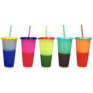 24 oz de plástico de color cambio de la temperatura de la Copa PP material sensible Copas Vasos de magia con tapa y Pajita Taza 5 5HB H19