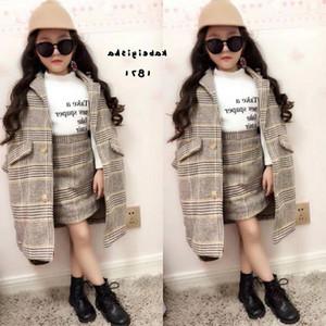 فتاة الخريف تتسابق 2019 خريف وشتاء ملابس الأطفال مجموعة معطف + تنورة الطفل بنات رياضية للأطفال مجموعات الصوفية الملابس