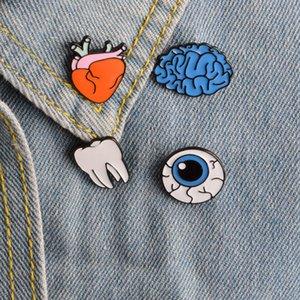 4pcs / set Cartoon émail Broche Drops de corps humain Yeux Broche cerveau dents Broche Organ Badge Chemise en jean Sac Pin Bijoux