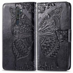For OPPO A5  A9Butterfly Love Flower Embossed Horizontal Flip Leather Case with Bracket Lanyard Card Slot Wallet