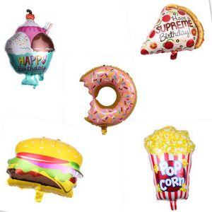 Big Hamburg Ice Cream Popcorn-Kuchen Donut Pizza Lebensmittel-Ballon-Geburtstags-Party-Dekoration Cake Shop aufblasbare Ballons