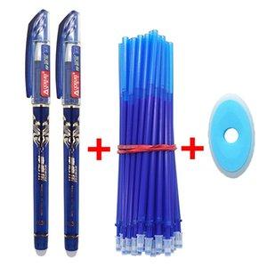 53Pcs / lot 0.38mm effaçable Lavable Poignée Pen Recharge Rod Bleu / Noir / encre école Gel Pen Fournitures de bureau Outils d'écriture Papeterie