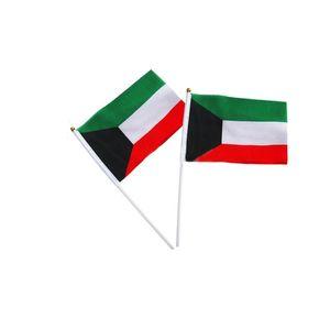 Kuwait Flag ondeggiamento tenuta in mano Flag per Outdoor uso interno, 100D poliestere, Make Your Own Bandiere