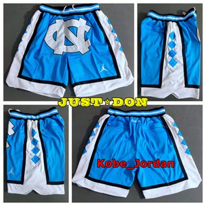 Mens appena don Pocket Basketball Shorts retrò cucita NCAA Blu Bianco North Carolina tasca dei pantaloncini fodera in rete Sports Pocket Sweatpants