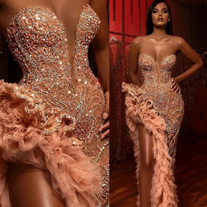 2020 Sweetheart Perlen Kristalle Sexy Abendkleider Schenkel Hohe Slits Pailletten Tiered Rüschen Roben de soirée elegante Abend-formale Kleider