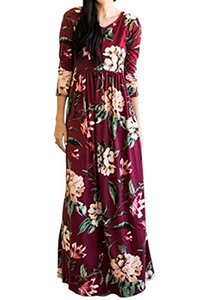 Abiti casual Mitilly Women's Floral Stampa floreale 3/4 tasche a maniche lunghe Pleated MAXI Dress
