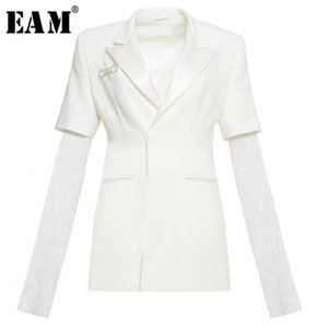 [EAM] Femmes Blanc strass brillant Blazer manches longues New Lapel Loose Fit Jacket Fashion Spring Tide Automne 2020 1X2730