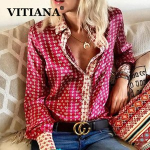 VITIANA Langarm-Bluse Women Casual Print Tops Herbst 2019 Female Buttons Elegante Blusen Damen Büro-Arbeit OL Kleidung Y200402