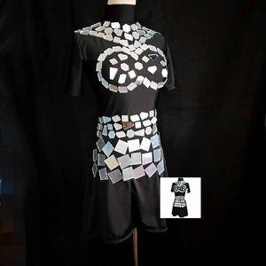 D44 Ballroom Dance Silberspiegel Kleid Sänger Performance Show trägt Tanzkostüm Club Silberspiegel Rock DJ Outfits Rave Wear Party Show