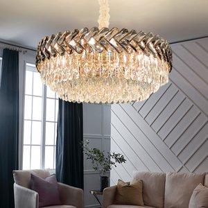 Smoky crystal chandelier lighting for villa living room bedroom dining room new luxury designer led pendant lights modern hanging lamps