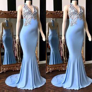 Verführerische Mermaid Sky Blue Schwangere Ballkleider mit Silber Pailletten Applikationen 2020 Sweep Zug Halfter V-Ausschnitt Backless Abendkleider