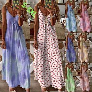 Women's waist swing sling dress sleeveless printed long skirt