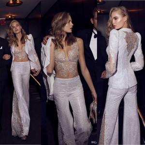 Ceket Ile Pnina Tornai Sparkly Gelinlik Modelleri Dantel Payetli illusion See Through Seksi Pantolon Akşam Örgün Parti Törenlerinde Robe De Soiree