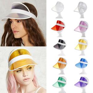 La manera transparente visera del sombrero causal del color del caramelo vacío tapa de plástico de la sombrilla de playa del verano sombrero al aire libre Deporte Sombrero LJ-TTA655
