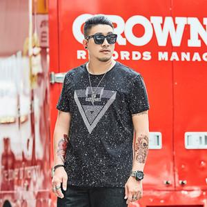남성 디자이너 t 셔츠 지방 느슨한 반소매 T 셔츠 플러스 비료 동정 캐주얼 라운드 넥 꽃 인쇄를 증가
