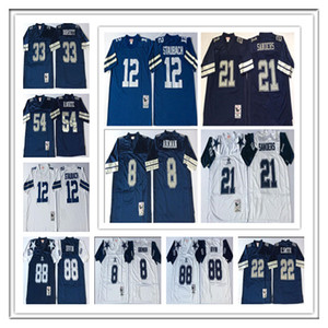 Uomini Retro Dalla Football Deion Sanders Emmitt Smith Troy Aikman Tony Dorsett Randy White Michael Irvin Roger Staubach Jersey ricamati Navy