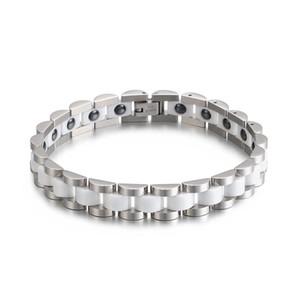 Hommes Femmes Bracelet en céramique en acier inoxydable Trendy Bracelet Bracelet en céramique Germanium Avantage Bangle santé