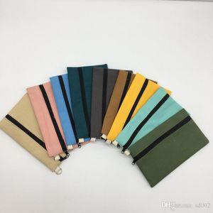Прекрасные Дети Портмоне Canvas Pure Color Pen сумки Творческий Косметика для хранения сумки Горячая продажа 2 58by E1