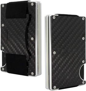 In fibra di carbonio di denaro titolare della carta della clip Wallet - Alluminio Carte di credito Mens Wallet RFID minimalista Slim titolari ID OEM