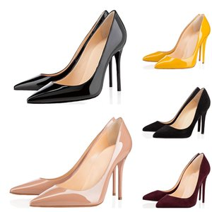 Fashion red bottoms Women High Heels Styles 8cm 10cm 12cm Noble black Genuine Leather Pointed Toes Pumps Rubber Dress Party Wedding shoes