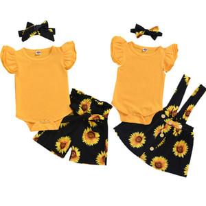 2020 العلامة التجارية الجديدة صيف الطفل بنات مجموعات طفل الطفل بنات عباد الشمس الكشكشة رومبير بلايز + المطبوعة السروال / الحمالة التنورة + العصابة