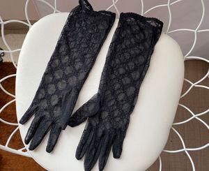 Guantes largos de lujo de novia de novia de encaje Guantes de novia Accesorios Cristales de novia de encaje para las novias de cinco sin dedos de la muñeca Leng 699