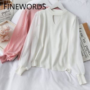 Coreano FINEWORDS Autumn Neck oco Out Branco camisola de malha Mulheres Beading manga comprida capuz Vintage elegante Swetry Damskie