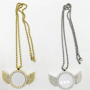 Free Shipping Custom hip hop Jewelry Sublimation Angel Wings Necklace For Promotion Gifts Custom hip hop Jewelry