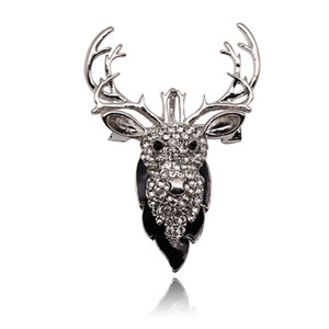 Haut Archives Fonds Originalité Rhinestone Deer Head Broche animale Femme alliage Vêtements Accessoires Pin Group