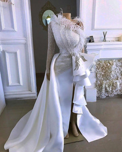 2020 Arabic Sparkly Sexy Evening Dresses One Shoulder Crystals Feather Prom Dresses Sheath Formal Party Gowns vestido de festa