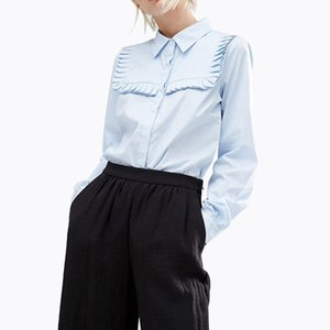 Europäisches und amerikanisches reizvolles Frauenhemd-Revers-langes Hülsen-Unterseiten-Hemd-Frauen-Desiger-Bluse-Größe S-2XL