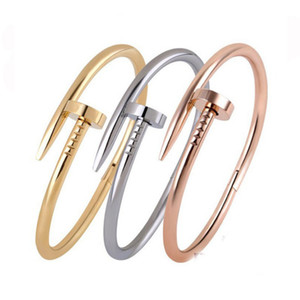 3 цветных ногтей топ-класс титановый сталь мода ювелирные изделия женские аксессуары браслет розовый золотой браслет пары браслет драгоценные камни женщины