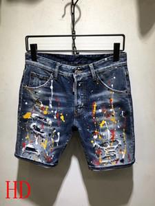 Nuevo 2019 verano denim corto moda italiana ripped jeans de alta calidad de algodón D96 slim jeans shorts marca D2 diseño