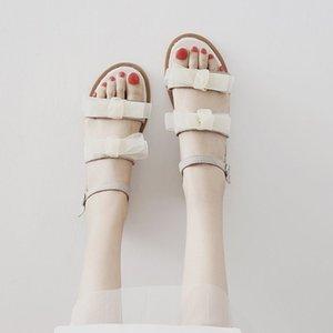 Fashion2019 Fairy Wind Студент Джокер Одна Пряжка Лук Нежная Обувь Сандалии Женщина С Плоским Дном
