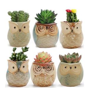 Hibou des pots de fleurs en forme de pots de fleurs Mini Pouce animaux Pots de fleurs jardin Décoration Jardinage Outil Cartoon charnus Plantes Flowerpot DHC10