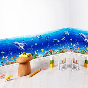 Le mur du monde océan autocollants Dolphin Wall Paper mer Wolrld Stickers muraux Cuisine Décor bricolage Art Decal autocollant amovible Poster