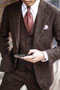 2020 Yün Slim Fit Damat smokin Düğün Suit Balıksırtı Tweed Groomsmen Kıyafet bestman Kıyafetler Balo takımları (Ceket + Pantolon + Vest) Artı boyutu