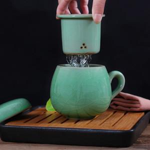 Chinesisches Porzellan Teetasse mit Deckel und Sieb Infuser Teacup Celadon Teekanne-Becher-Geschenk Trinkgefäße Reise Tragbare Tassen