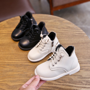 Italy Girls Leather Martin boots 2020 new Kids short boots children's shoes in the big boy British wind short girls boots