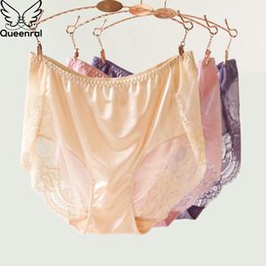 Queenral Briefs Mulheres Sexy Lace Underwear transparente calcinhas de algodão Mulheres Seamless calcinhas de cintura alta para 5XL 6XL Tamanho