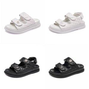 Sandalet Ayakkabı 2020 Yaz Burun Kalın Düz Katı Pu Casual Kız Plaj Kadın Floplar Bayanlar ayakkabı Bayan Siyah Kahverengi 34-40 CT1 # 620 kadın